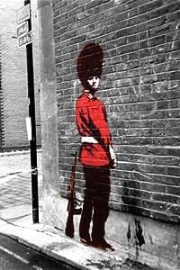 Set de 3 Posters de Banksy Motif garde royale, The Fallen Angel, Kissing Coppers, Mini Poster Papier, chaque affiche: 23,5 x 16,5 cm-Dimensions 59.4 x 42 cm (environ)