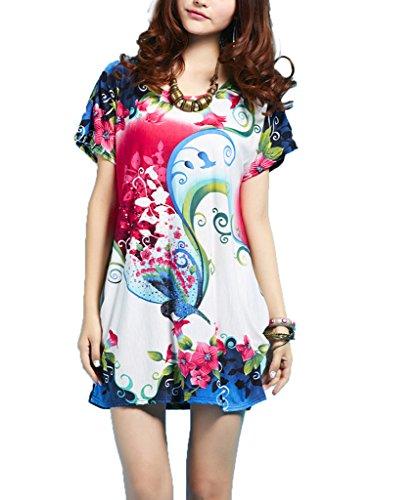 Vlunt Pull stretch pour femme Manches chauve-souris Style robe tunique Tops - A