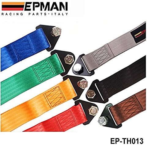 SkyRam (TM) EPMAN -Gray HIGH STRENGTH RACING TOW STRAP SET FOR FRONT/REAR BUMPER HOOK TRUCK/SUV