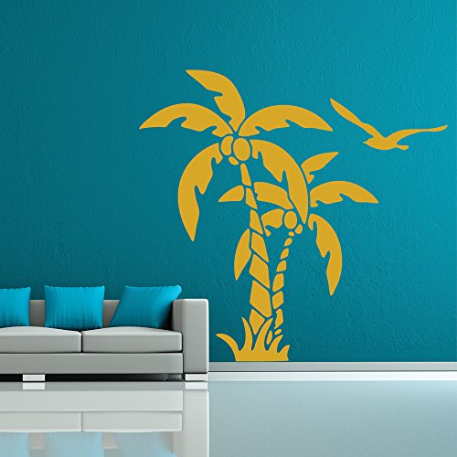 palme-e-noci-di-cocco-tropicali-fiori-e-alberi-wall-stickers-decalcomanie-di-casa-darte-disponibile-