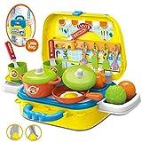 Dreamon Rollenspiel Mini Küche Spielzeug Set Spielzeugset Kochen Lebensmittel Spielset Geschenke für Kinder Mädchen 3 Jahre, Gelb