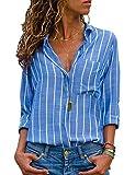 Avanon S-3XL Streifen Bluse Damen Oberteile Chiffon Elegante Herbst Langarmshirts V-Ausschnitt Knöpfe Shirts Langarm Hemd (A Himmel-blau, S)