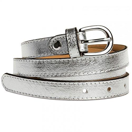 CASPAR GU273 Damen Leder Gürtel, Gürtelgröße:75;Farbe:silber metallic