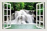 Adhesivo decorativo para pared, decoración para el hogar, adhesivo de vinilo, diseño de cascada y bosque, paisaje de naturaleza en 3D, W0814, 32X48