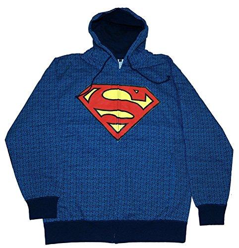 Changes Dc Comics Superman Repeat Logos Zip Front Hooded Sweatshirt (Large) Zip Front Hooded Sweatshirt Shirt