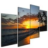 Kunstdruck - Makena Beach - Hawaii USA - Bild auf Leinwand - 120x80 cm 4 teilig - Leinwandbilder - Bilder als Leinwanddruck - Landschaften - USA - Sonnenuntergang über dem Pazifik