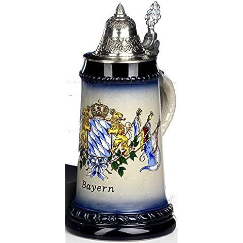 Jarra de cerveza - lanzador de recuerdo - Bayern escudo 0,5 L - cerveza, Beer Mug - cerámica con tapa de estaño 97%