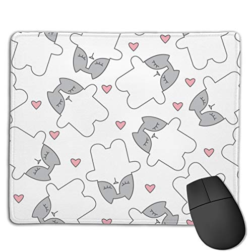 White and Grey Kitty Cats with Pink Hearts Computers Thick Keyboard Non-Slip Rubber Base Mouse pad Mat 7 X 8.6 inch Sexy Pink Kitty