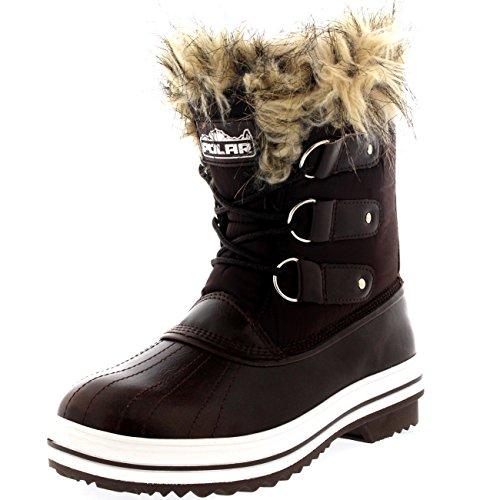 femmes-fourrure-brassard-caoutchouc-court-hiver-pluie-chaussure-bottes-brn38-ayc0075