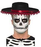 DangerousFX Día de muertos azúcar cráneo negro rojo sombrero mexicano + esqueleto brillan en el oscuro maquillaje