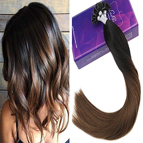 Laavoo 22pollice/55cm allungamento capelli veri con cheratina brasiliana u tip extensions ombre nero a marrone medio 50 ciocche extension capelli veri 1grammo