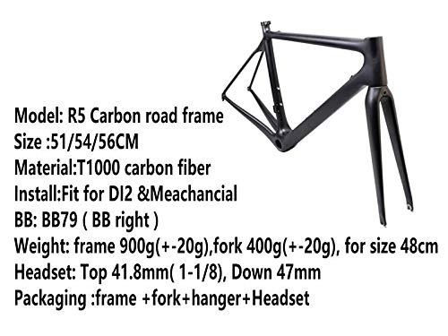 Voll Carbon Rahmen Rennrad Radsport Fahrradrahme 51/54 cm Matt (56 cm)