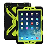 ipad 2/3/4 Hülle, Meiya multifunktionale Silikon stoßfest wasserdicht Drop robuste Fall, Heavy Duty Case, Kindersichere Hülle Kind Schutzhülle Geschenk für Apple ipad 2/3/4 Schwarz/Grün