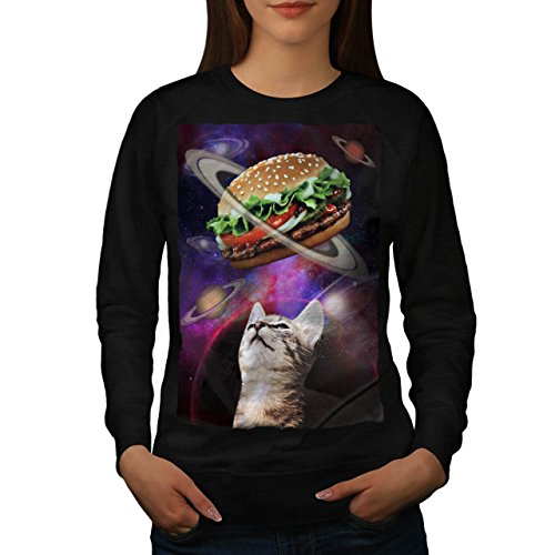 space-burger-cat-fun-kitten-eat-women-new-black-l-sweatshirt-wellcoda