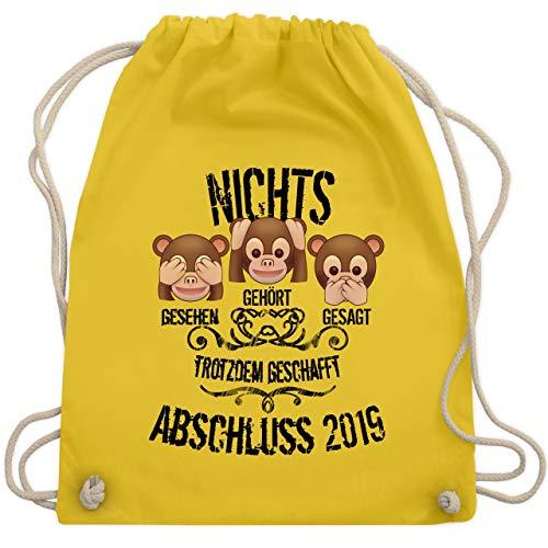 Abi & Abschluss - 3 Affen Emojis ABSCHLUSS 2019 - Unisize - Gelb - WM110 - Turnbeutel & Gym Bag