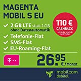 Telekom Magenta Mobil S EU Allnet Flat mit 2GB LTE Internet Flat max. 300 MBit/s, Telefonie- und SMS-Flat in alle dt. Netze, HotSpot-Flat, EU Flat, 24 Monate Laufzeit, monatlich nur 26,95 EUR statt 45,95 EUR + Cashback in Höhe von 110 EUR, Triple-Sim-Karten