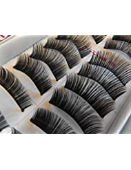 10 pairs quality boxed Black natural effect thick false fake extensions eyelashes #198 with small glue re-usable for everyday wear, night out - by