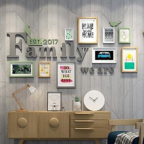 HJKY Photo Cadre Photo Set salon mur mur simple et moderne avec des tableaux ornent les murs de combinaison créative de l'attelage de petits murs photo frais, blanc gris et vert bois