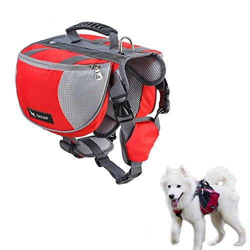 Pupouse Hund Rucksack Geschirr Abnehmbare 2in 1Rucksack Hound Satteltasche mit 2Taschen für mit Leckerlis, Poop Taschen und Eine Kleine Erste Hilfe Tasche für große Rassen