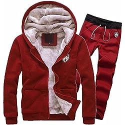 Sweatshirt de Survêtement Ensemble Homme,Overdose Pantalon de Jogging Sport Hoodie Hiver Veste Fourrure Sweat CapucheTracksuit