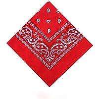 [UK SELLER] Men's/Women's Bandana Head Scarf Neck Scarves Paisley 100% COTTON (red)