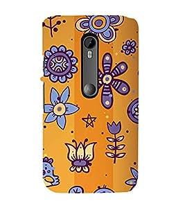 animated flowers and birds in orange background 3D Hard Polycarbonate Designer Back Case Cover for Motorola Moto G3 :: Motorola Moto G (3rd Gen)