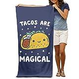 ewtretr Serviettes de Plage Bath Towel Tacos are Magical Soft Beach Towel Pool Towel 30x50 Lightweight for Beach Gym Yoga