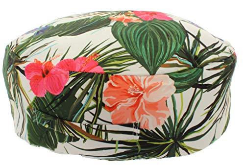 MIK funshopping Bodenkissen Pouf Exotica floral 45cm rund (weiß) -