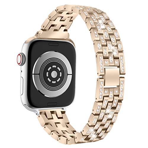 Janly Femme Fille De Luxe Bling Cristal en Acier Inoxydable Bracelet en Métal Bracelet Remplacement De Bande pour Apple Watch Série 4 40mm / 44mm (Or, 40mm)