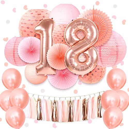 rosa Sweet 16./18th/21. Geburtstag Party Supplies 101,6 cm Rose Gold Folienballon hängend Seidenpapier Laterne Streutisch Konfetti für Mädchen Geburtstag Dekoration 18 ()