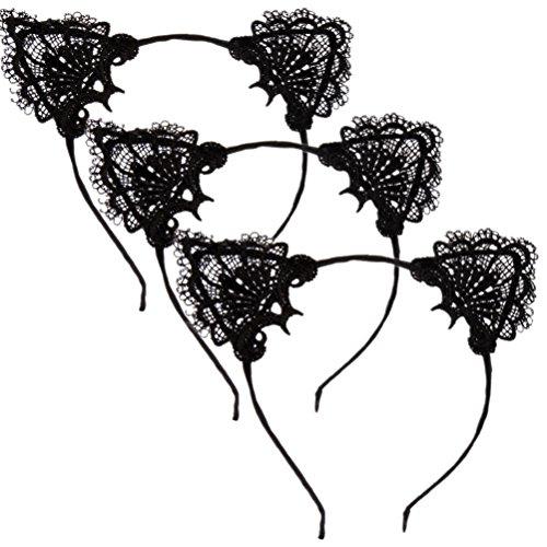 Uoeo 3Süße Spitze Katze Ohren Haar Kopf Band Kostüm Party Haarband Sexy Schwarz Spitze Bunny Katze Ohren Haarband
