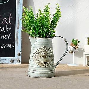 Shabby Chic Vase, Metallblumenvase Retro Garden Kleine Gießkanne mit Klassik für die Gartenarbeit oder Blumenarrangeme Vase/schäbige Vase/Blumengießkübel mit dekorativem Dekor