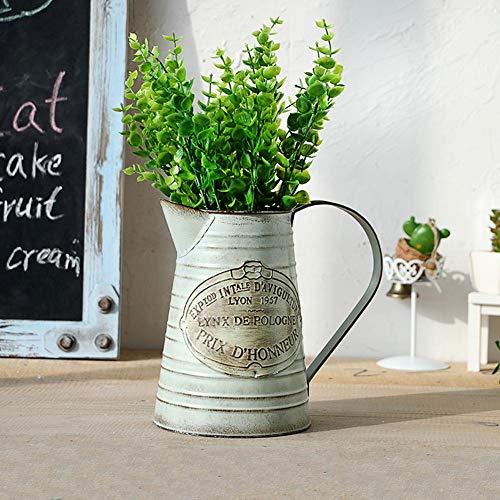 Shabby Chic Vase, Metallblumenvase Retro Garden Kleine Gießkanne mit Klassik für die Gartenarbeit oder Blumenarrangeme Vase/schäbige Vase/Blumengießkübel mit dekorativem Dekor - Vintage Garden Vase