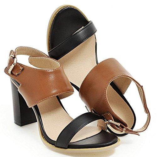 AIYOUMEI Offene Sandalen Damen mit Absatz High Heels Knöchelriemchen Pumps Schuhe mit Schnalle Braun