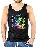 rohuf Design Neon Tank-Top Shirt - Bunte Katze - Katzen Astronaut - Achselshirt Als Humorvolle Geschenk Idee mit Aufdruck für Katzenfreunde, Größe:M