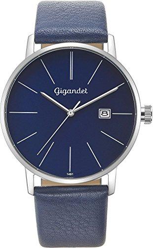 Gigandet Reloj Hombre Cuarzo Minimalism Analógico Correa de Cuero Azul Plata G42-009