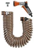 GARDENA Spiralschlauch-Set 10 m: Spiralförmiger Gartenschlauch zum Gießen und Bewässern kleinerer Flächen, Rückstellkraft, Durchmesser 9 mm, mit GARDENA Systemteilen und Brause (4647-20)