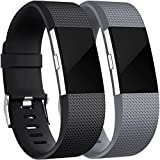 HUMENN Für Fitbit Charge 2 Armband, Charge 2 Armband Weiches Silikon Sports Ersetzerband Fitness Verstellbares Uhrenarmband für Fitbit Charge2 Large Schwarz/Grau