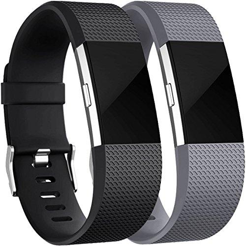 Für Fitbit Charge 2 Armband, HUMENN Charge 2 Armband Weiches Silikon Sports Ersetzerband Fitness Verstellbares Uhrenarmband für Fitbit Charge2 Small Schwarz/Grau