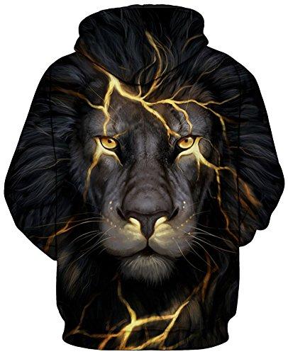 TDOLAH Femme Sweat-shirts à Capuche Fantaisie Pull Hoodie avec Impression Pluseurs Styles 5-Foudre Lion