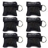 Beatmungsmaske,Lifesport 6 Stücke CPR Maske Schlüsselbund Ring Rescue Face Shields Emergency Kit Bea (Schwarz)