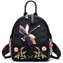 JAGENIE - Mochila de Nailon con Diseño de libélula Bordada para Estudiantes, ...