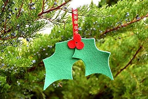 Weihnachts filz Stechpalmen verzierung Weihnachts baum dekoration Filz Weihnachts dekor grüne Stechpalmen Blatt Weihnachts verzierung Feiertagsdekor Weihnachts geschenk fühlte Stechpalmeblatt Weihnachtsbevorzugungen Stechpalme