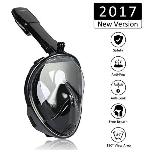HiCool Masque de Plongée Intégral avec Tuba Amovible Plein Visage Vision Panoramique à 180°pour Homme Femme et Enfant (Noir, S/M)