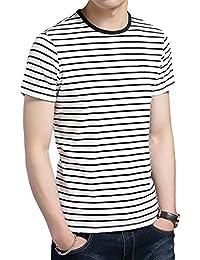 YOURTURN Camiseta de Hombre Rayada en Gris, Rojo o Azul - Camiseta de Manga Corta con Rayas y Bolsillo en el Pecho - Camiseta de…