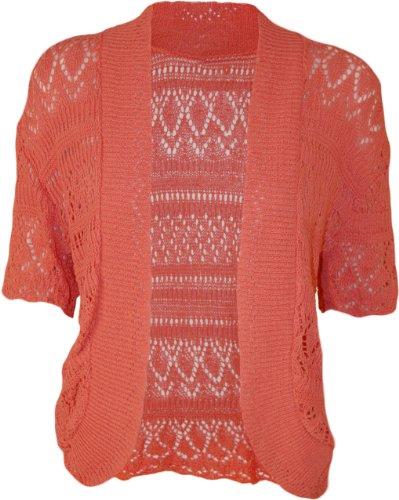 WearAll - Damen Übergröße Häkeln Strick Kurzarm offen Cardigan - Koralle - 46-48 (Rock-star-damen-pink T-shirt)