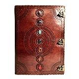 Sieben Chakra Mittelalter Stein handgefertigt Leder geprägt Tagebuch Buch der Schatten Notebook Office Diary College Book Poesie Book Sketch Book 35,6x 55,9cm