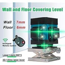 Niveau Laser, Careslong 12 lignes à nivellement automatique 3 * 360 croix horizontales et verticales Ligne de faisceau laser verte IP54 étanche Ligne de nivellement et d'alignement -Moins que 5nw