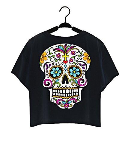 Pretty321 Women Girl Lovely Blouse Floral Cartoon Skull Head Crop Top Cute T shirt Amazon