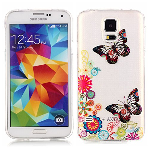Coque TPU pour Samsung Galaxy S5,Galaxy S5 Neo Silicone Gel Etui,Ekakashop Samsung Galaxy S5 / S5 Neo Ultra Mince Transparente Souple Soft Silicone Arrière Flexible Gel Swag Bumper Cas Coque de Protec Papillon